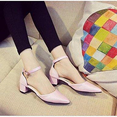 SANMULYH Scarpe Donna Pu Estate Autunno Comfort Tacchi Chunky Tallone Punta Appuntita Per Casual Rosa Nero Argento Oro Rosa