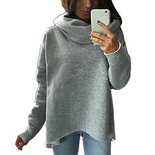 DELEY Damen Mode Unregelmäßig Geschnittene Langarm Rollkragen Pullover Hoodies Outerwear Mantel Sweatshirt Sweater Grau Größe S