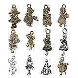 48 piezas de suministros de artesanía de plata envejecida y bronce para niñas, colgantes para manualidades, accesorios para hacer joyas, accesorios para bricolaje, collar, pulsera M188