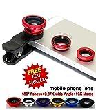 #4: Voltac Universal Mobile Camera Lens Clip-On 3 In 1 Kit, 180 Degree Fisheye Lens With Stainless Steel Egg Mould