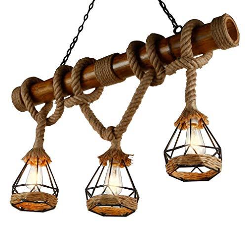 Retro Vintage Seilleuchte Seil Lichter Kronleuchter Rustikal Hanfseil Eisen Leuchter Pendelleuchte Runde Hängend Eisen Käfig Hängelampe Handgewebt Deckenlampe Beleuchtung 3 * E27 Edison Esstischlampe [Energieklasse A+] (C-3 Flammig)