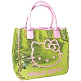HELLO KITTY CAMOMILLA SEQUINS LUXURY LARGE LADIES SHOULDER TOTE HAND BAG GREEN by Hello Kitty