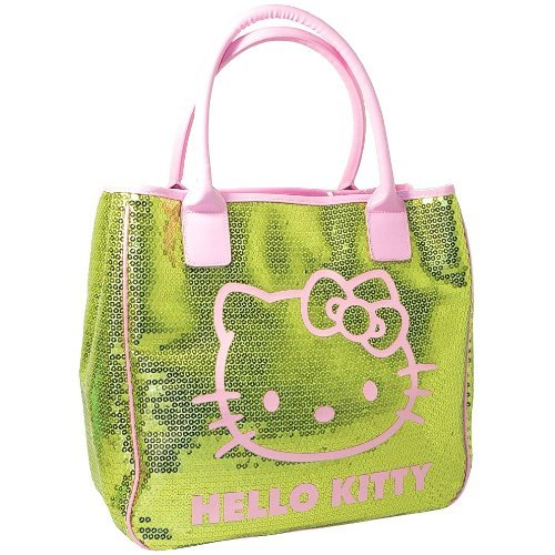 ab362c130ee4 HELLO KITTY CAMOMILLA SEQUINS LUXURY LARGE LADIES SHOULDER TOTE HAND BAG  GREEN by Hello Kitty