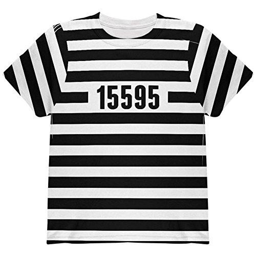 Halloween Gefangenen Alten Zeit Gestreifte Kostüm auf der Ganzen Jugend T Shirt Multi YSM