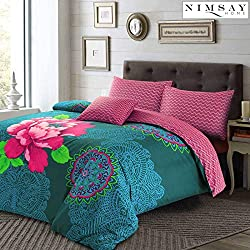 JANICE Floral polialgodón funda de edredón y fundas de almohada juego de ropa de cama de cama de ciruelo de color azul, Purple/Teal, matrimonio