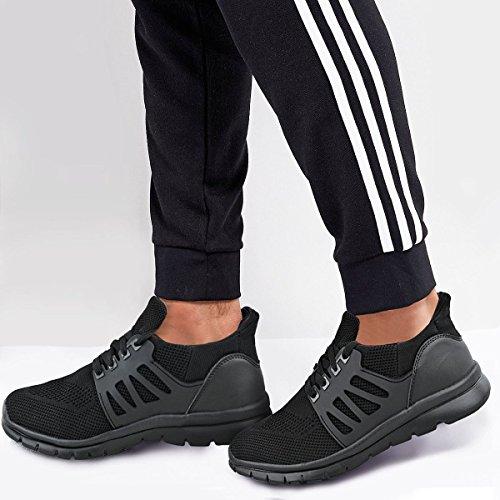 Fashion Thirsty Baskets de Course - pour Homme - Légères - Gym/Sport/Travail - Noir
