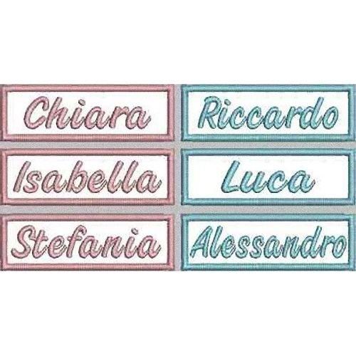 MAREL - Parche bordado - 10unidades - Con nombre de niño/niña, para delantal de guardería. 7,5x 2,5cm