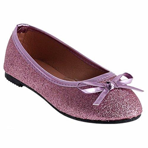 Festliche Mädchen Ballerinas Schuhe Glitzer Schleife in Vielen Farben M527pi Pink 35