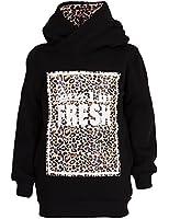 24brands - Mädchen Kapuzen Pulli / Hoodie Hoody / Pullover / Sweater mit Kapuze / Animal Print / schwarz Gr 116-122