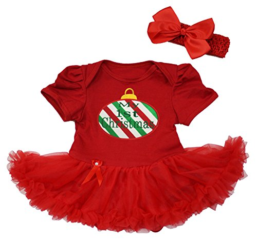 My 1st Christmas Kleid CANDY CANE rot Body rot Tutu Strampler Baby Set nb-18 m Gr. S, Rot (Cane Kleid Candy)