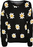 WearAll - Pull tricoté à manches longues avec imprimé des marguerites - Pulls - Femmes - Noir - 40-42