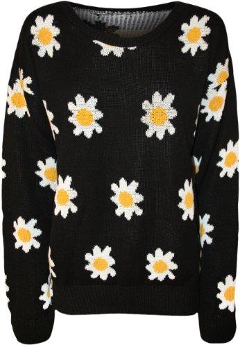 WearAll - Pull tricoté à manches longues avec imprimé des marguerites - Pulls - Femmes - Tailles 36 à 42 Noir