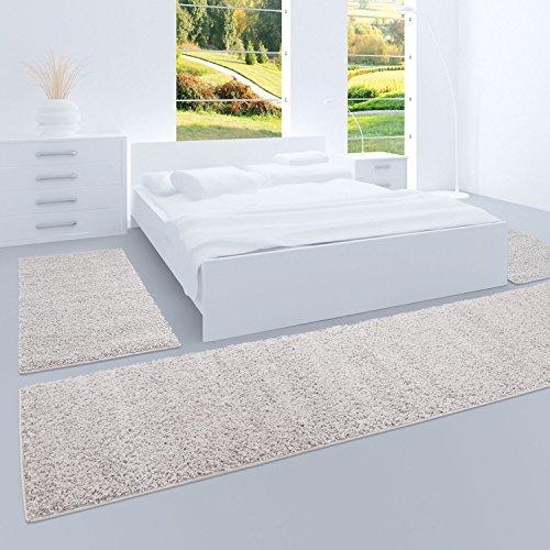 carpet city Shaggy Bettumrandung Hochflor-Teppiche in Grau, Silber, Einfarbig für Schlafzimmer, 3-teiliges Läufer-Set: 2X 70x140 cm und 1x 70x250 cm -