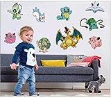 ENFANTS STICKERS MURAUX POKEMON GO EFFET AUTOCOLLANTS FILLES CHAMBRE DE MUR CHAMBRE DECOR Décoration Sticker Adhesif Mural Géant Répositionnable