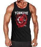 Herren Tanktop Fanshirt Türkei Türkiye Turkey EM WM Fußball Löwe Flagge Lion Flag Muskelshirt MoonWorks® schwarz S