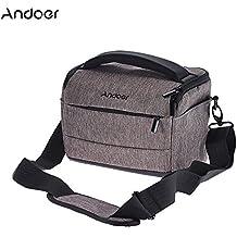 Andoer Cuboid-shaped Mochila de Cámara Moda Portátil para 1 Cámara 2 Lentes para Canon Nikon Sony FujiFilm Olympus Panasonic- Marrón