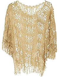 Damen Netz Top Bluse mit Häkel Spitze und Fransen Blumenmuster Shirt Longshirt Hippi Boho