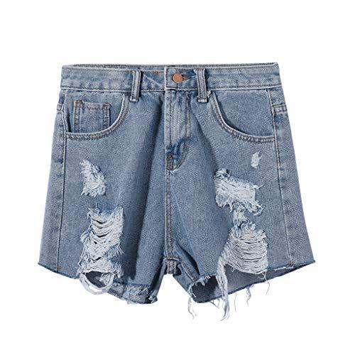 UFODB Damen Jeansshorts Für Frauen,Ladies High Waist Jeansbermuda Jeans Shorts Caprijeans Röhrenjeans Jeans-Shorts Sommer Hot Pants Loch Katzen Hohe Taillenhosen -