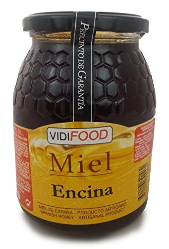 Steineiche Roher Honig - 1kg - In Spanien gesammelt - Feinste Qualität, Hausgemacht & 100% rein - Blumiges Aroma und reicher, süßer Geschmack - Große Vielfalt an leckeren Geschmäckern (Mit Mandeln Dunkel Spezielle)