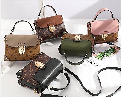 Xinmaoyuan borse Donna Primavera ed Estate Stampa Borsa confezione piccola borsa a tracolla trasversale femmina sacco bag Pu trasversale di blocco quadrato piccolo sacchetto Nero e