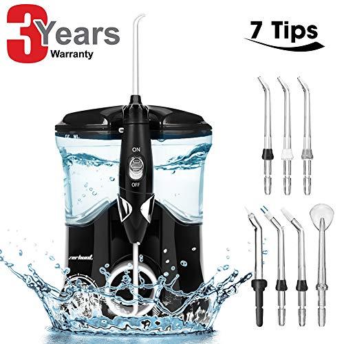 Munddusche Elektrische,Dental Oral Irrigator mit 7 funktionale Jet-Düsen,600ml Wassertank, 10 einstellbaren Druckeinstellung Familie Wasser Flosser für Zähne,FDA CE Zertifiziert