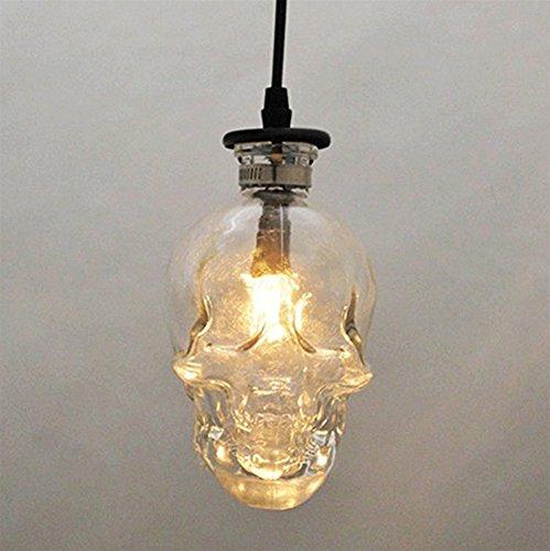 QINAIDI Schädel Kopf Glas Kronleuchter 3-Kopf-Scheibe E14 Totenkopf Lampe, Loft Vintage Bar Restaurant Halloween Schädel Kronleuchter,Singlehead (Glas-pendelleuchte-lampen-farbtöne)