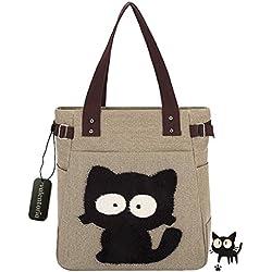 Back To School Suministros Essentials 2016valentoria® Cute Fat diseño de gato Multifunction Mujer de Lona Cierre de cremallera bolso de mano bolsa para el almuerzo con gran capacidad mejores regalos para Teen Girls