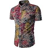 YeeHoo Sommer Casual Herren Blumen Hemd Strandhemd Hawaiihemd Kurzarm Urlaub Hemd Freizeit Reise Hemd Party Hemd