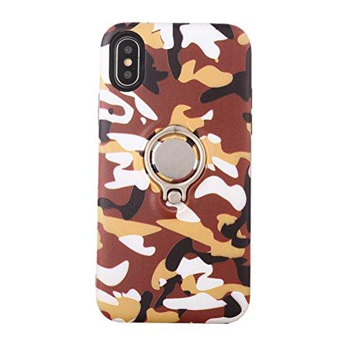 UKCOCO Tarnung Camo Druck Telefon Fall mit Ring Halter Silm Fit stoßfest Telefon Shell Cover für iPhone X