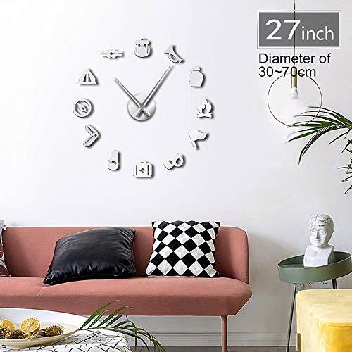 ACYKM Silber 27inch Unterschiedliche Besetzung stille DIY Wanduhr Medizin Brust Trompete Pfeife Kompass Werkzeuge Room Decor benutzerdefinierte Big Time Clock - 27 Besetzung