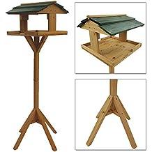 Casita para pájaros con soporte de madera 116 cm - Comedero para pájaros de estable construcción resistente a la intemperie y de montaje simple