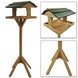Vogelhaus mit Holz-Ständer 116 cm Vogelfutterhaus stabile Holz Konstruktion Vogelhäuschen