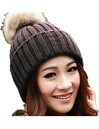 Tefamore Sombrero de las mujeres Invierno Bolso de piel de gallo caliente  Gorro de lana de 24206bf2118