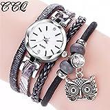 Gaddrt CCQ Mode femmes filles Analog quartz hibou pendentif dames robe bracelet montres (A)