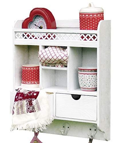 more-decor-de Wunderschöner Wandschrank Hängeschrank Küchenschrank mit Blechornamenten - Shabby Chic - 2 Schubladen - Weiß