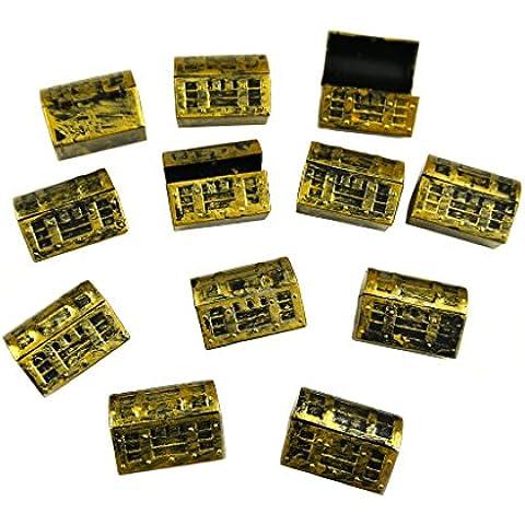 MS Favor 12pcs Mini cofres del tesoro de la decoración del partido del oro pirata CJ525