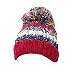 Berretto Invernale Per Donne Cappello Faux Pon Pon Beanie Hat Pera Sci Snowboard Rosso