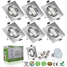 Foco Empotrable, Liqoo 6x GU10 LED Luz de Techo 6W equivalente a incandescente 40W Incluye Bombilla GU10 Blanco Natural 4500K 550Lm Ojos de Buey Marco Square Esmerilado Ángulo Rotable 30°AC 220V-240V