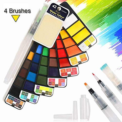 BBLIKE Set de Peinture Aquarelle - 42 Couleurs Boîte de Rangement de Ventilateur avec 4 Peinture à L'eau Brosse - Peinture à l'Aquarelle Portable Artiste Fournitures - Extérieure Parfaite Cadeau