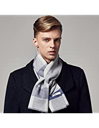 XIAOLIN-- Scarf Autumn and Winter Men Upscale Collar Long Section Lattice Gift Box Packaging --Outdoor warm scarf ( Color : C )