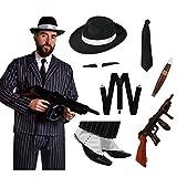 Déguisement de gangster pinstripe de luxe en 10 accessoires avec une veste à rayures + un pantalon taille élastique assorti + un chapeau + une cravate noire + des bretelles + des guêtres + un cigare + une arme gonflable + (X2) fine moustache adhésive pour adulte. Ideal pour les enterrements de vie de garçon. ( XLarge )