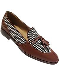 scarpe uomo mocassini in pelle e tessuto con nappine