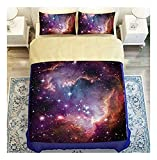 CSYPYLE Bettwäsche Set Heimtextilien Kreatives Universum Sternenhimmel Muster Weiche Bequeme Bettbezug Bettlaken Schlafzimmer Bettwäsche Kit, 1,8 Mt