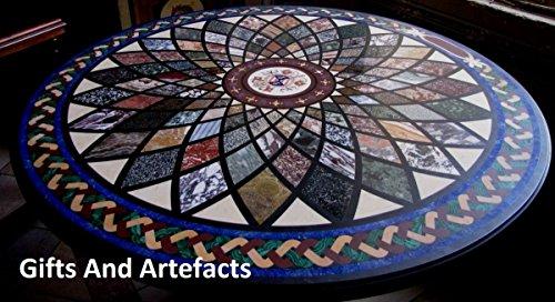 Gifts And Artefacts 152,4cm schwarz rund Marmor Luxus Sofa Center Tisch Top Einlage Einlegearbeiten Design - Marmor Top Sofa Tisch