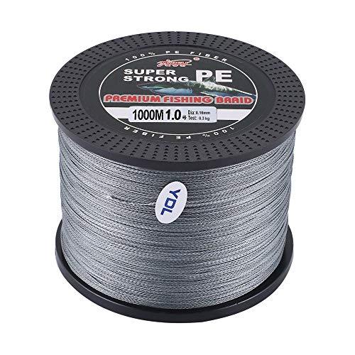 Erduo YUDELI 1,0 Leinenummer Super Strong 4 Strang 1000M Premium PE Geflochtene Angelschnur Lake Multifilament Drahtgewebter Faden - Grau