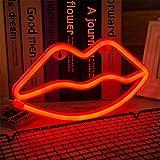 ENUOLI Lip della luce al neon rosso segno al neon Lip lampada da parete della stanza della decorazione della batteria Luce e USB Operated LED Neon Lights labbro rosso Neon Signs lampade si accendono
