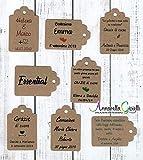 Cartellini kraft personalizzati, tag bomboniere, 30x45 millimetri, a partire da 30 pezzi, avana, etichette,matrimonio, battesimo, comunione, cresima, laurea, bigliettini carta riciclata