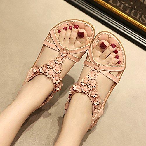 Flipflopsandelholze Grau und Rosa Damenschuhe New Style Flat Heel Slingback Sandalen Büro & Karriere / Kleid / Casual stilvoll ( Farbe : Grau , größe : EU39/UK6/CN39 ) Pink