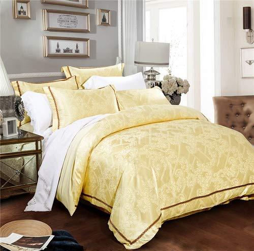 RONGXIE Cotton/Silk Tencel Blue Satin Jacquard Bedding Set Duvet Cover Bed Linen Bed Sheet Pillowcases Textiles Bedclothes - Baumwoll-jacquard-könig-duvet