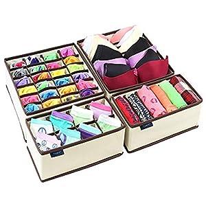 Ticent & Co. Aufbewahrungsbox, Schublade Organizer BH Unterwäsche Drawer Organizer für Socken, Krawatten, Schals, Schrank Büstenhalter Unterwäsche Schubfach, 4er Set